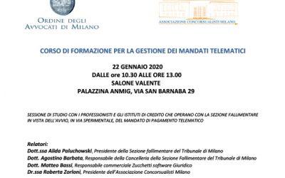 CORSO DI FORMAZIONE PER LA GESTIONE DEI MANDATI TELEMATICI – 22 gennaio 2020