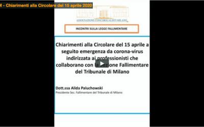 Chiarimenti alla Circolare del 15 aprile  2020